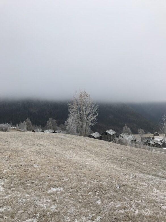 Ausblick bei Hobiel, Nebel und Reif