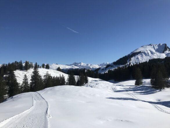 Winterwanderg mit Sicht auf Silberen und Glärnisch bei Stoos