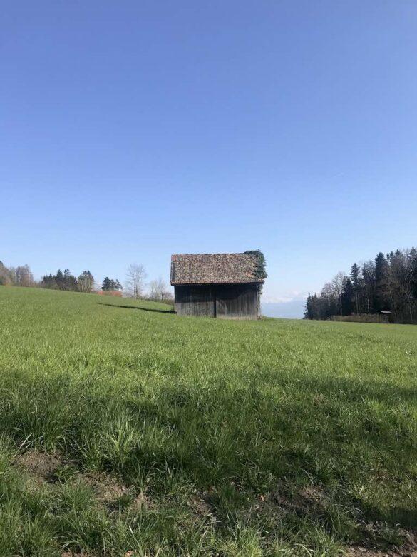 Feld und Scheune auf dem Wanderweg