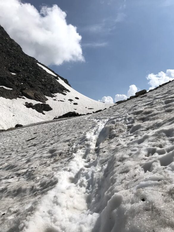 Schneefeld vor Cristallina Pass