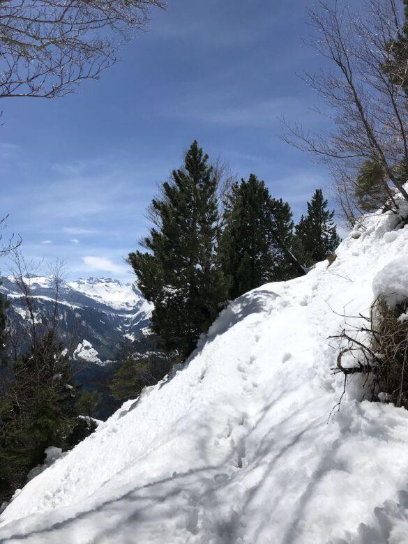 Wanderweg und Schnee