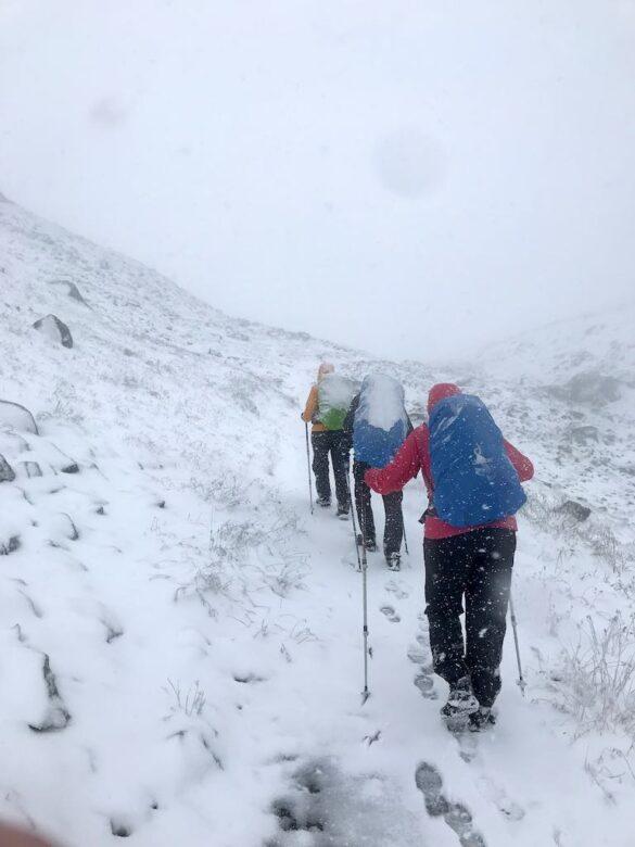 Aufstieg zum Scalettapass im Schnee