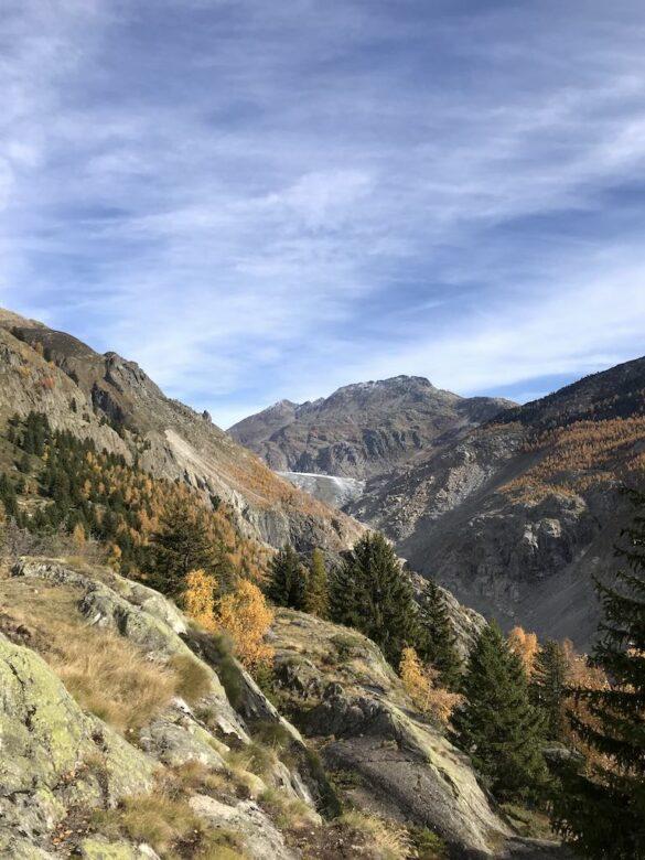 Landschaft mit Felsen vor Aletschgletscher